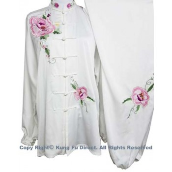 UC808 - White Uniform with Pink Flower Embroidery