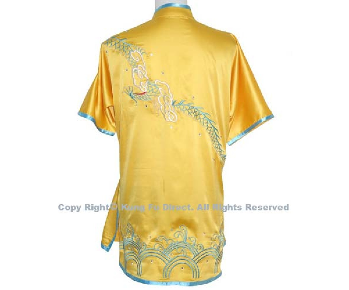 UC055 - Yellow Uniform with Blue Dragon Embroidery